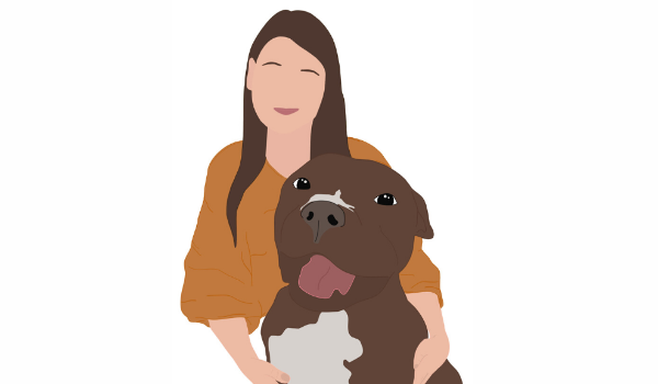 Illustration of Jersey Pets Rescue with Pitbull Dog