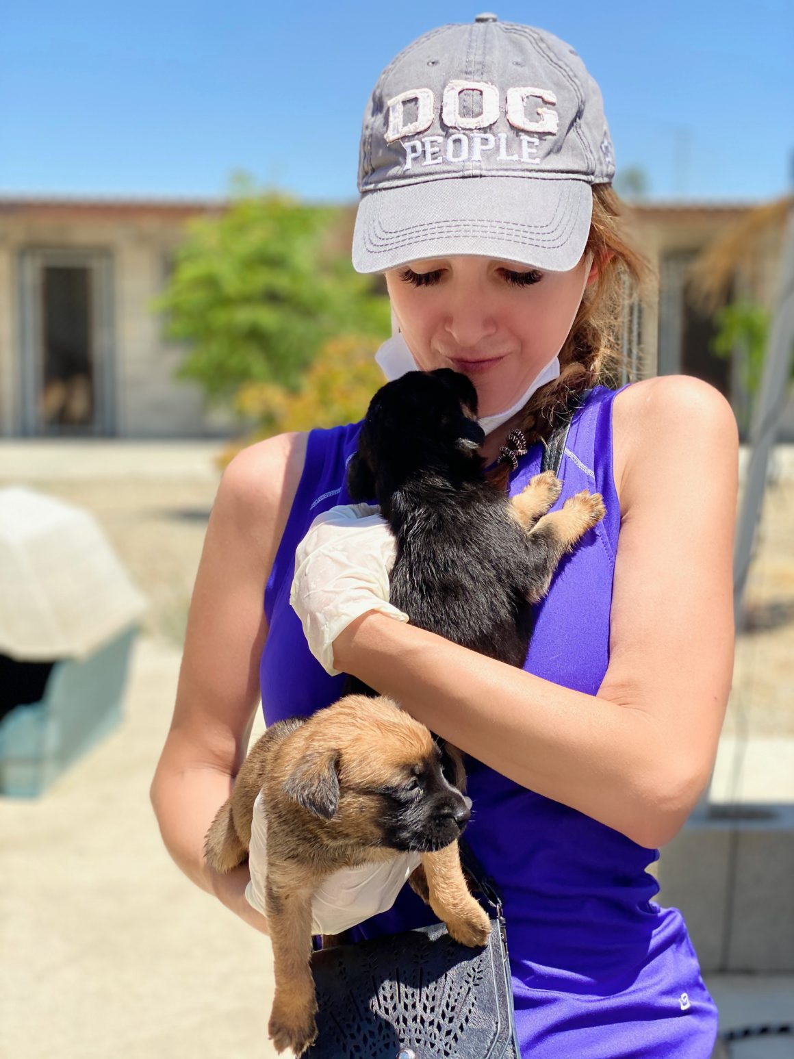 Shira Astrof of the Animal Rescue Mission with two puppies