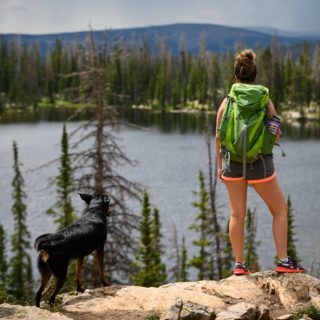woman hiking with dog looking at lake
