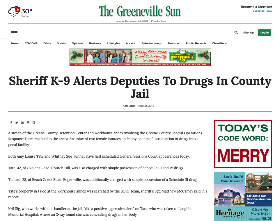 news article about sheriff dog