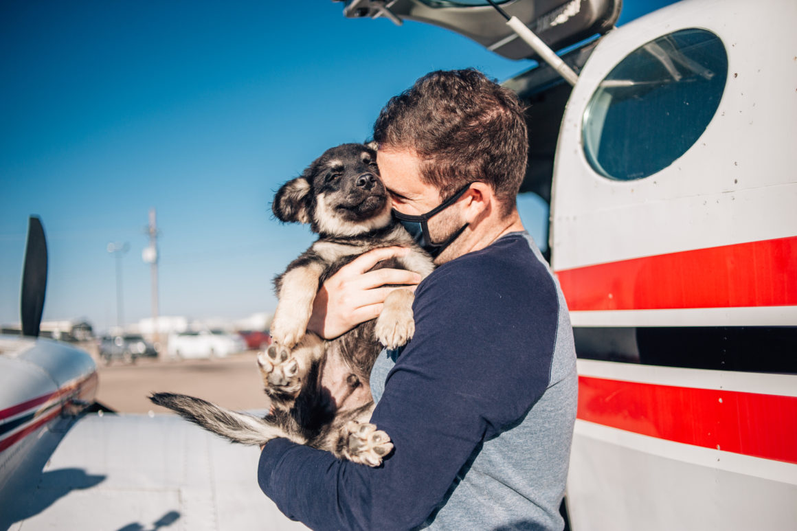 puppy being held by masked man outside airplane