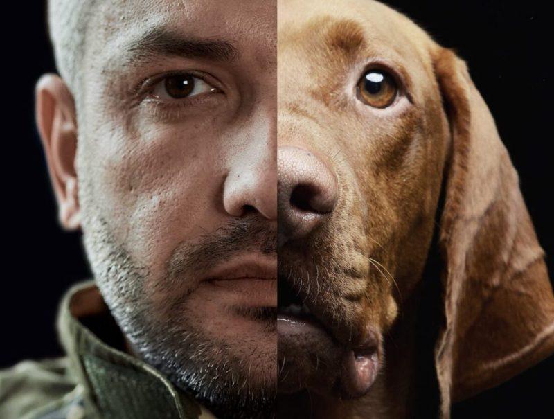 man and dog face split screen