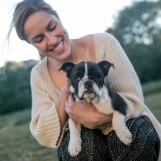 brunie with bulldog